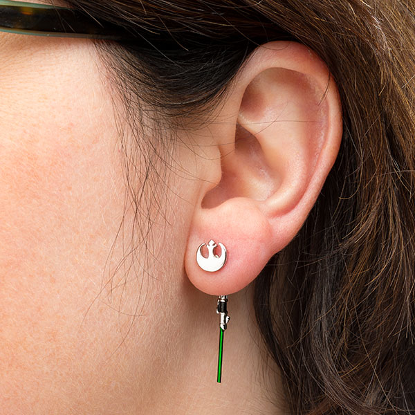 Star Wars Yoda Lightsaber dangle earrings at ThinkGeek