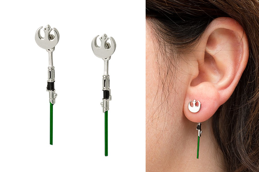 Star Wars Yoda Lightsaber Dangle Earrings
