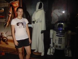 Myself with a Princess Leia costume on display