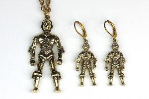 Vintage 1997 C-3PO earrings (altered) with matching necklace
