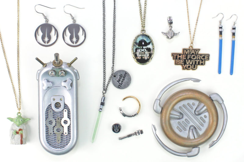 Jedi comlink and communicator with Star Wars jewerly