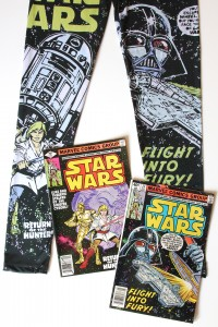 We Love Fine - Marvel Comic cover leggings (front, with comics)