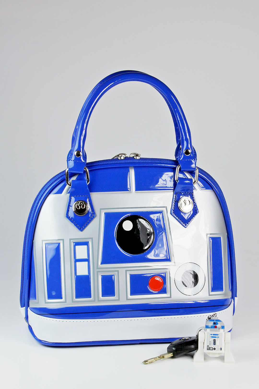 Loungefly - R2-D2 handbag (front, with Lego keychain)