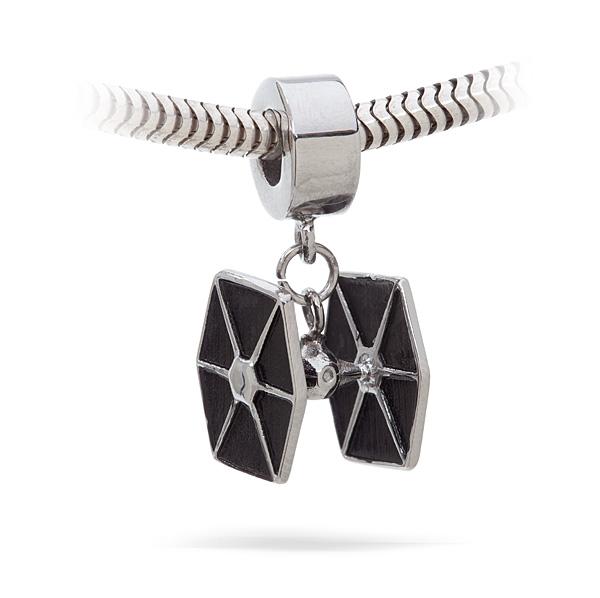Thinkgeek Tie Fighter Charm Bead Displayed On Silver Bracelet