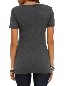 Gray v-neck tee at Hot Topic