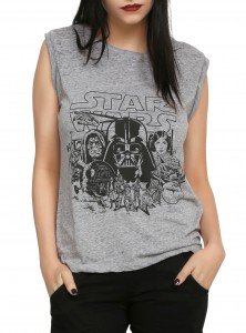 Hot Topic - women's heather grey muscle-cut tank top (front)