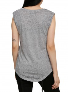 Hot Topic - women's heather grey muscle-cut tank top (back)