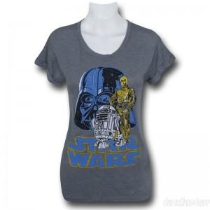 SuperHeroStuff - women's Darth Vader and Droids t-shirt