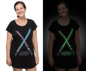 Thinkgeek - women's glow in the dark lightsaber sleep shirt