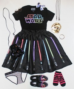 Her Universe t-shirt and skirt with accessories