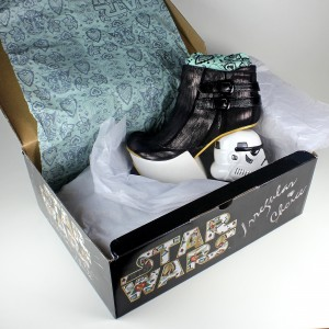 Irregular Choice x Star Wars - The Death Star boots with box and packaging