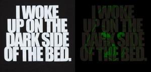 Thinkgeek - Dark Side Of The Bed glow-in-the-dark sleep shirt (detail)