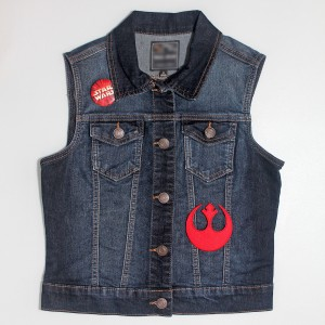 Denim vest with Star Wars patch and pin