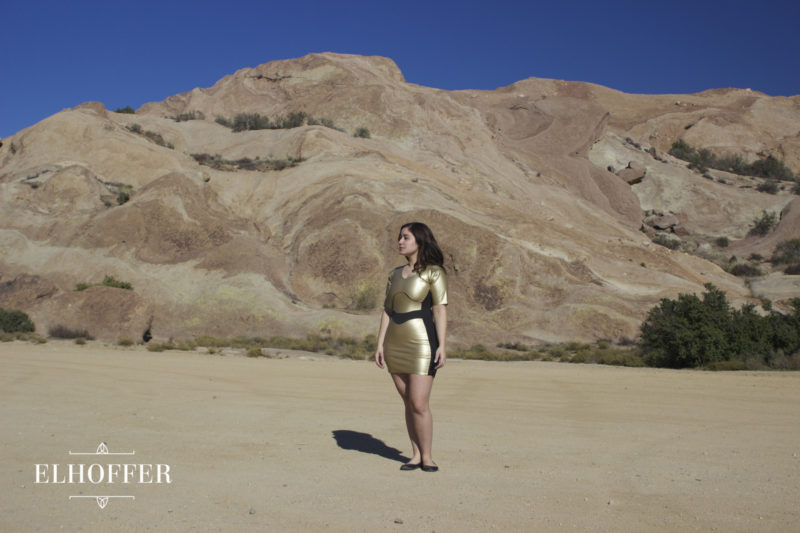 Elhoffer Design - C-3PO dress (modelled by Jessica LG)