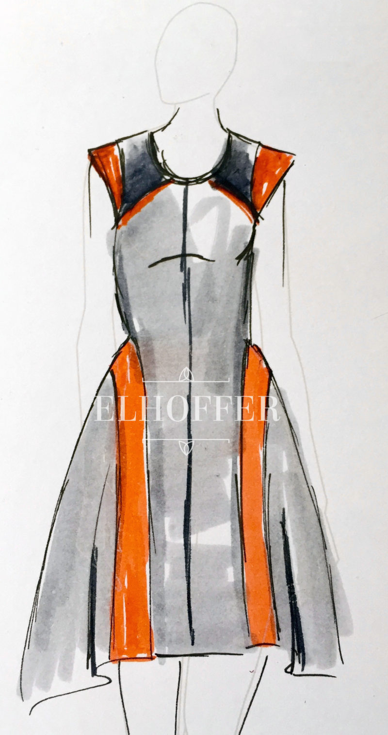 Elhoffer Design - BB-8 inspired dress concept sketch