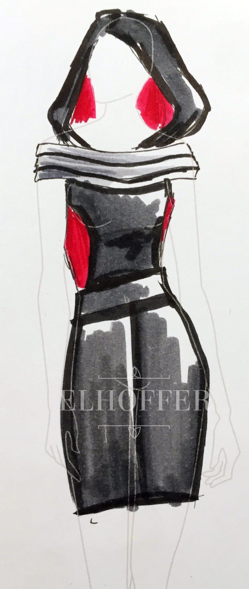 Elhoffer Design - Kylo Ren inspired dress concept sketch