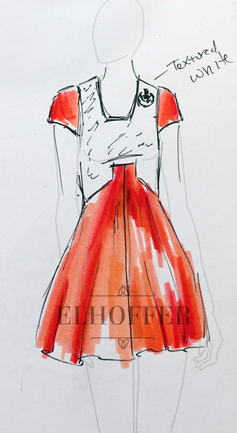 Elhoffer Design - X-Wing pilot inspired dress concept sketch