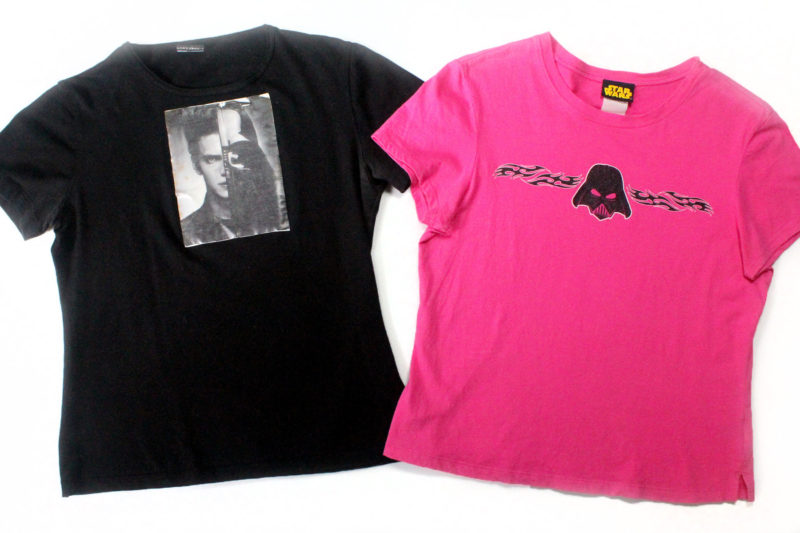 My home made Anakin/Vader t-shirt, and a StarWarsShop Darth Vader t-shirt