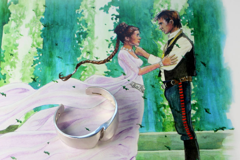 Lapponia - 'Darina's' silver bracelet as worn by Princess Leia, with artwork by Lin Zy