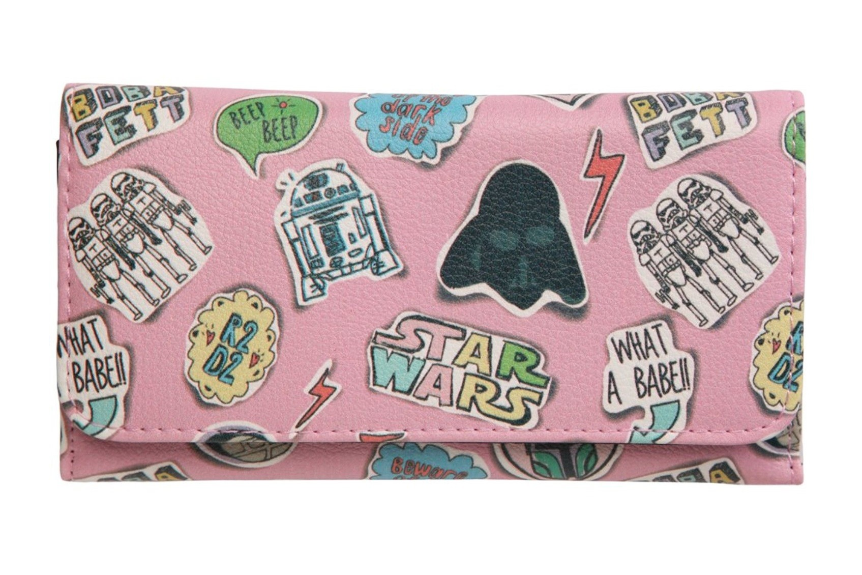 Amazon - women's Star Wars Sketched Comic pink trifold wallet