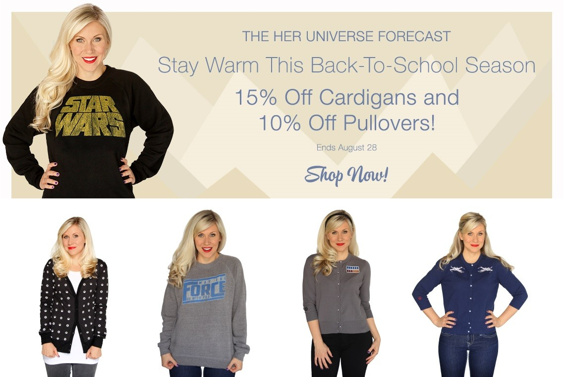 Her Universe sale on cardigans and pullovers