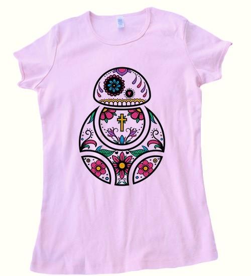 Beep Boop Beep - women's BB-8 sugar skull tee (pink)