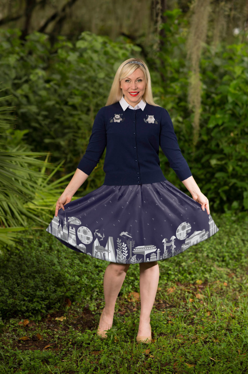 Her Universe - women's Star Wars timeline skirt and Ewok cardigan