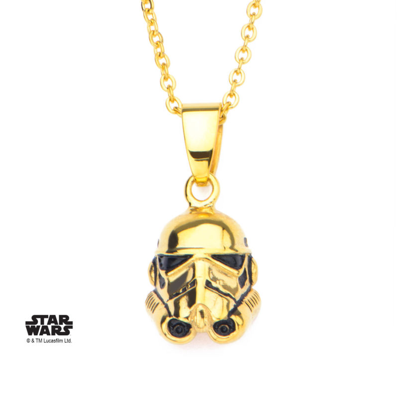 Body Vibe - Women's Stainless Steel Gold PVD Plated 3D Stormtrooper Necklace