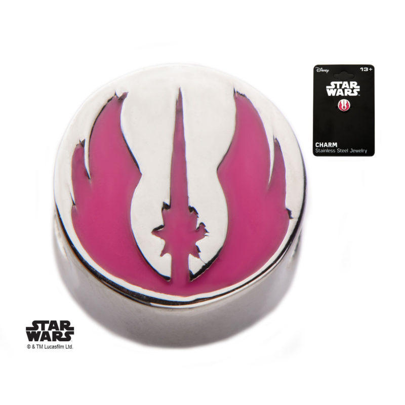 Body Vibe - Stainless Steel Star Wars Pink Jedi Symbol Bead Charm