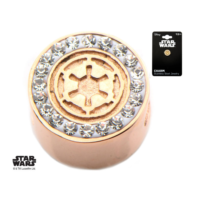 Body Vibe - Stainless Steel Rose Gold PVD Plated Star Wars Galactic Empire Symbol Bead Charm