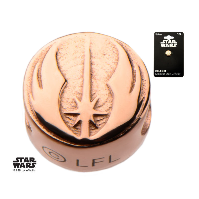 Body Vibe - Stainless Steel Rose Gold PVD Plated Star Wars Jedi Symbol Bead Charm