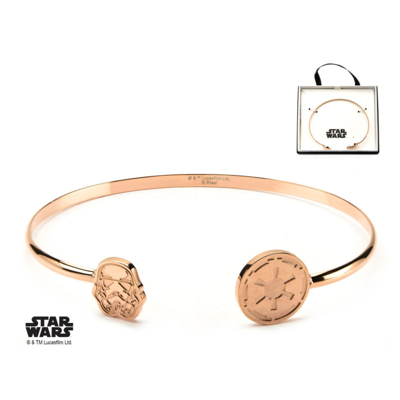Body Vibe - Women's Stainless Steel Rose Gold PVD Plated Star Wars Stormtrooper Cuff Bangle Bracelet