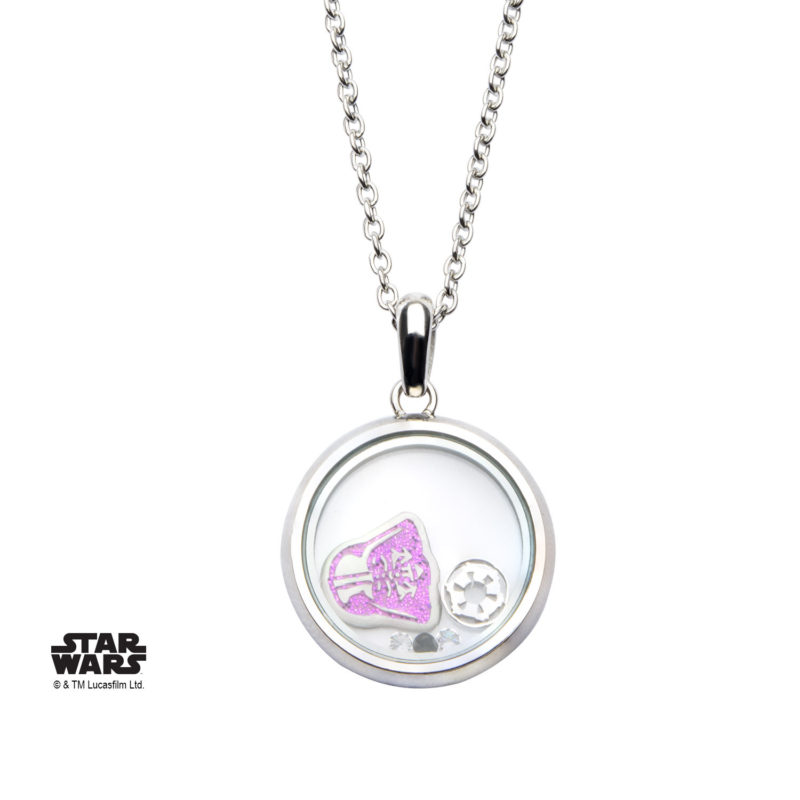 Body Vibe - Women's Stainless Steel Star Wars Pink Glitter Darth Vader Beads Necklace
