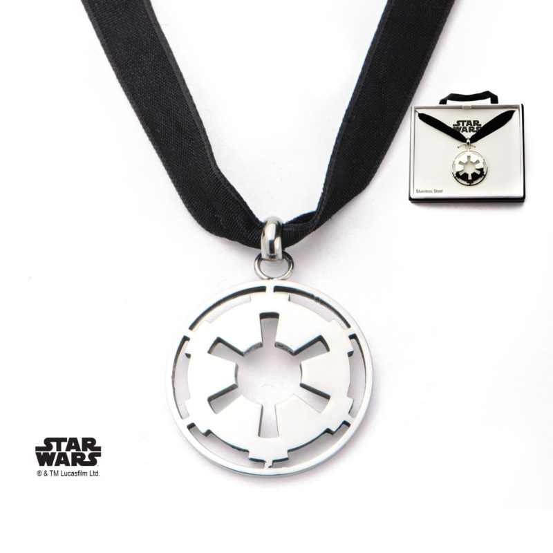 Body Vibe - Stainless Steel Star Wars Small Cut Out Galactic Empire Symbol with Velvet Choker Necklace