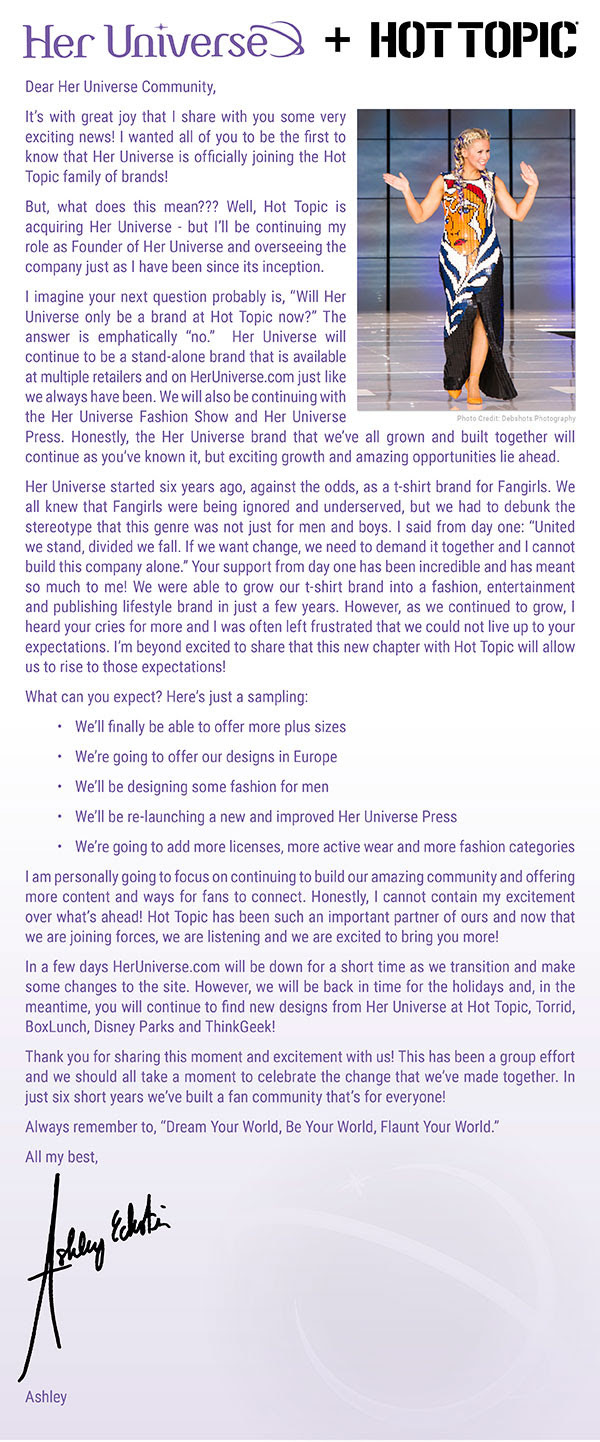 Her Universe press release