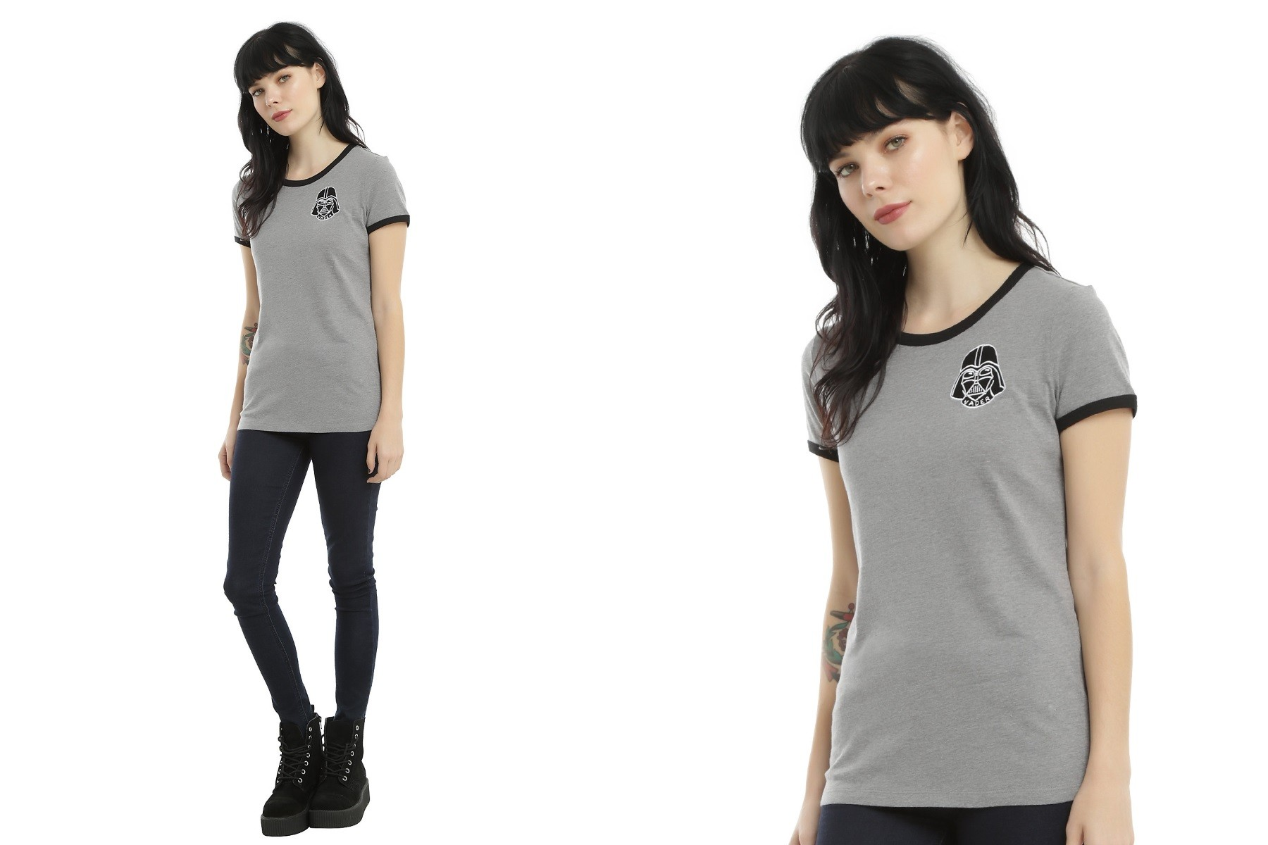 Hot Topic - women's Darth Vader patch ringer tee