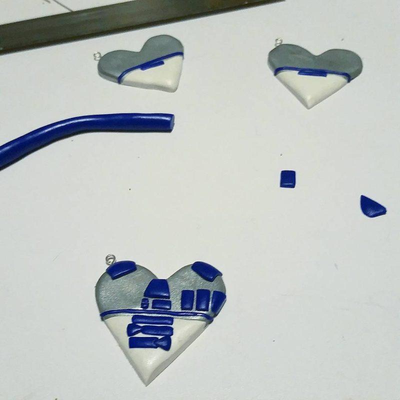 MIss E's Accesories - R2-D2 heart pendant in progress