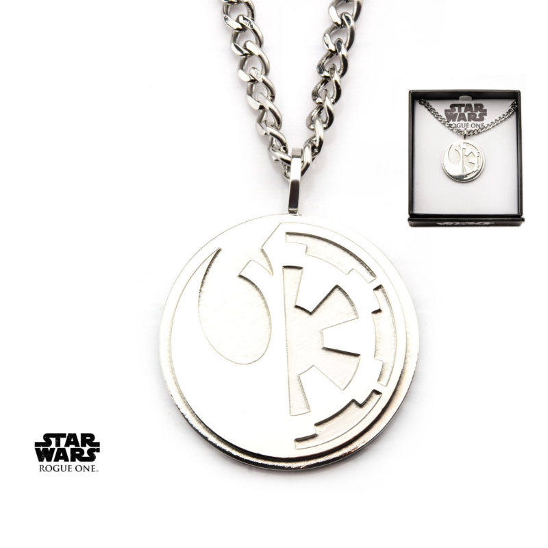 Body Vibe x Star Wars Rogue One Rebel & Empire symbol necklace available at Entertainment Earth