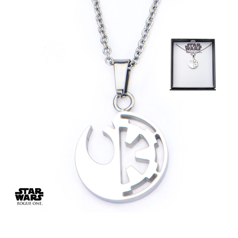 Body Vibe x Star Wars Rogue One Rebel & Empire symbol cut-out necklace available at Entertainment Earth