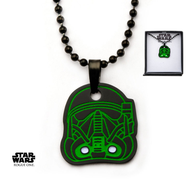 Body Vibe x Star Wars Rogue One Deathtrooper glow-in-the-dark black necklace available at Entertainment Earth