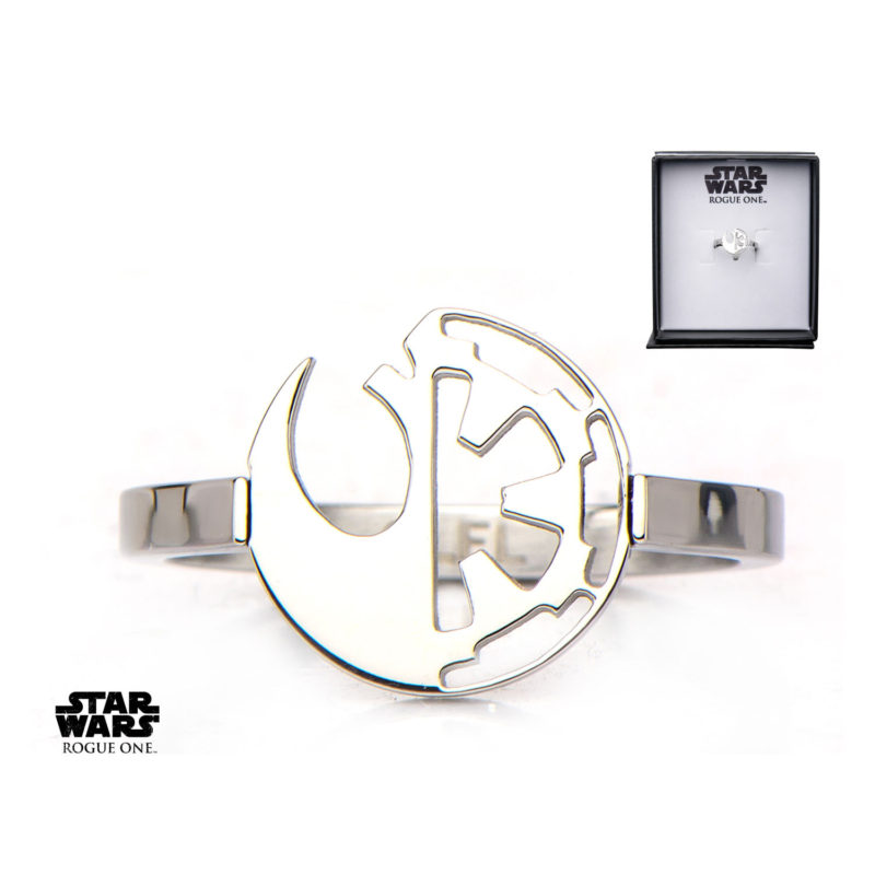 Body Vibe x Star Wars Rogue One Rebel & Empire symbol cut-out ring available at Entertainment Earth