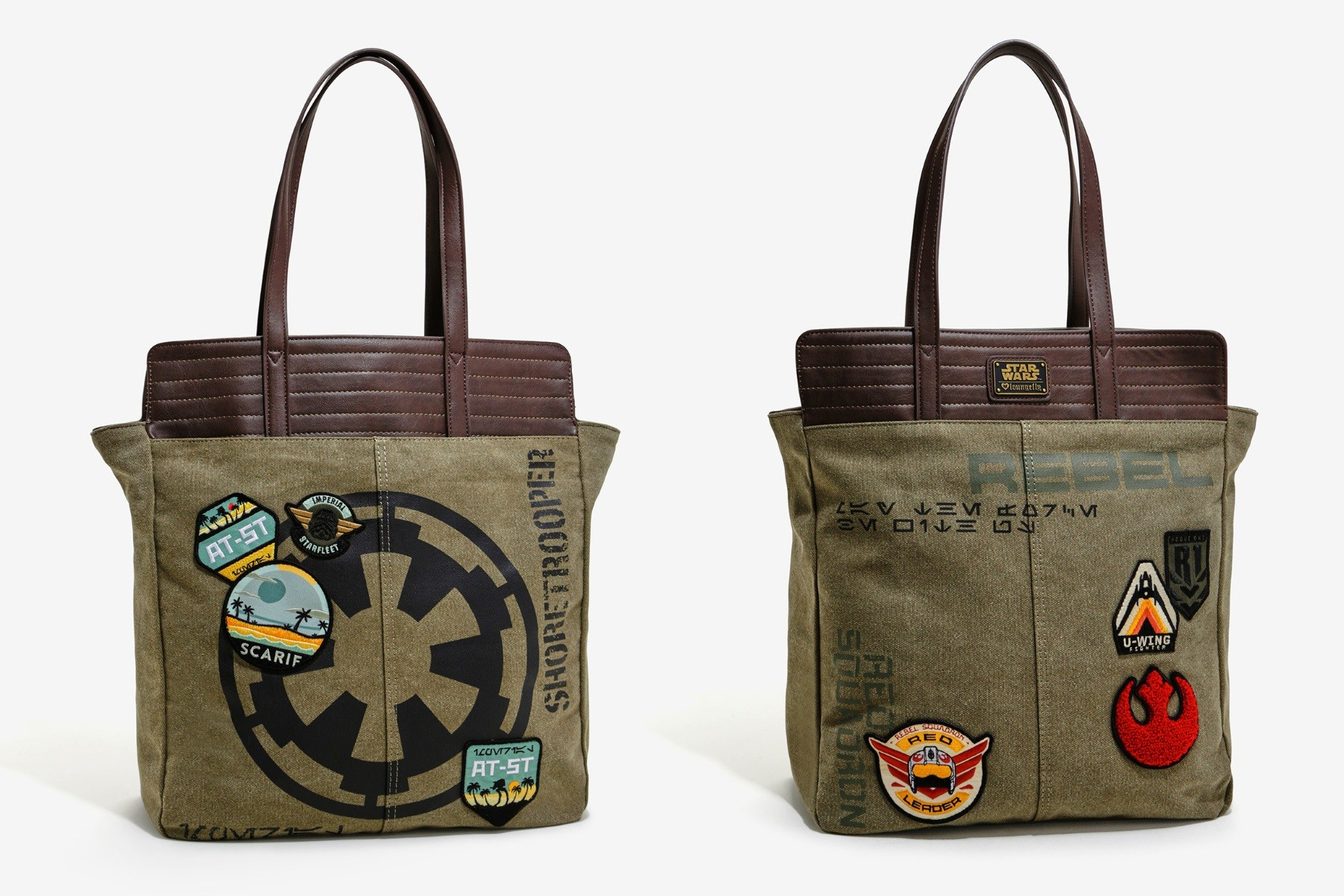 Loungefly X Rogue One patch tote bag and wallet available at Box Lunch