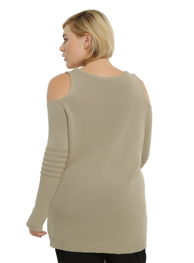 Women's plus size Rogue One Rebel cold shoulder sweater available at Hot Topic