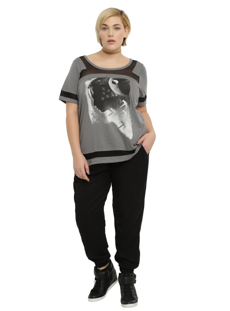 Women's plus size Rogue One Jyn mesh insert top available at Hot Topic