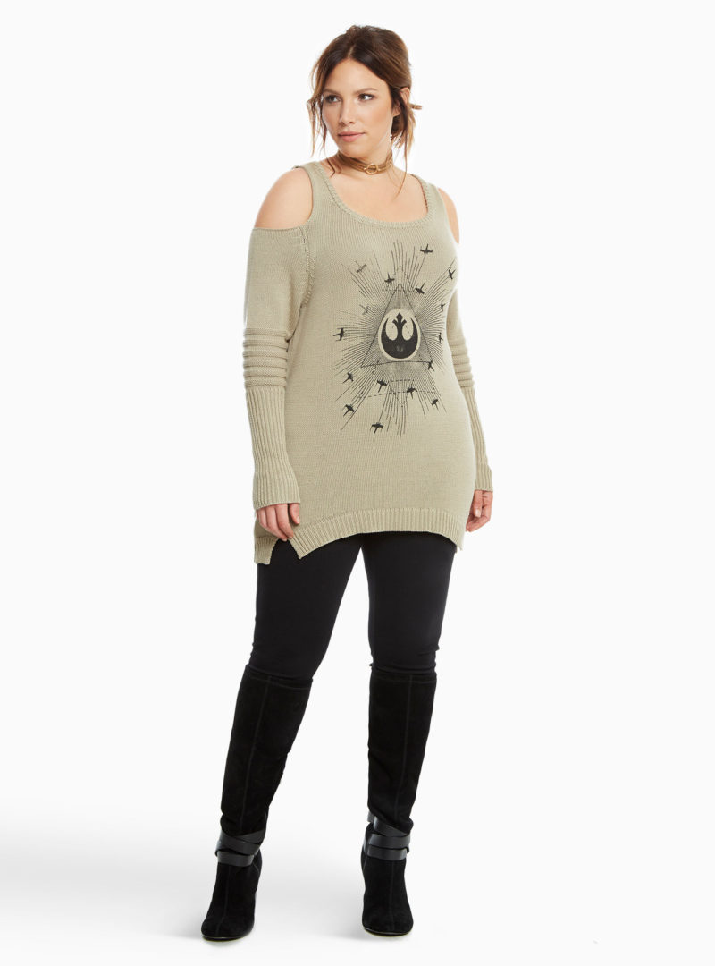 Women's plus size Rogue One Rebel cold shoulder sweater available at Torrid