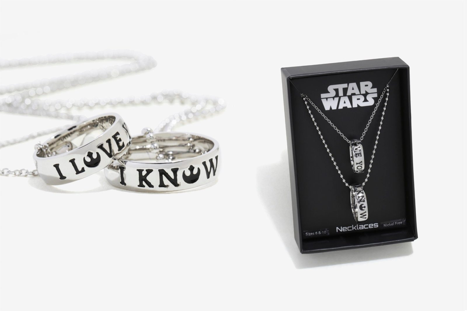 New 'I Love You' – 'I Know' ring necklace set