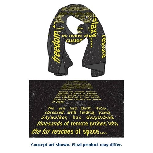 Mighty Fine x Star Wars ESB opening crawl scarf available at Entertainment Earth
