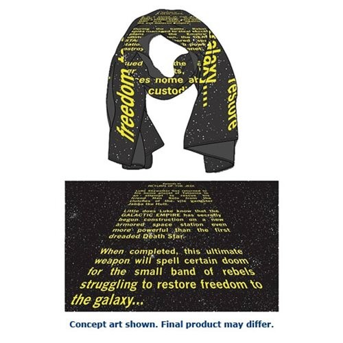 Mighty Fine x Star Wars ROTJ opening crawl scarf available at Entertainment Earth