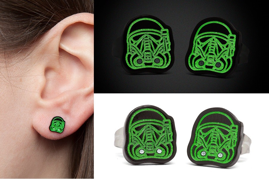 Glow-in-the-dark Deathtrooper stud earrings