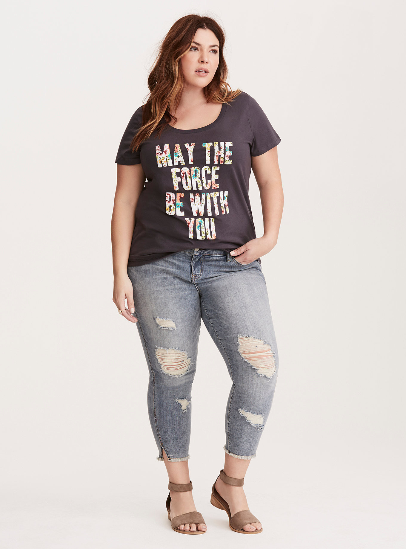 b2117d1012 ... Women s Star Wars Floral May The Force Be With You plus size t-shirt at